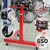 TIMBERTECH Cavalletto Motore - Fino a 550 kg, con Piastra di Supporto Girevole, Costruzione Robusta, con Ruote Piroettanti, Rosso - Sostegno Motore, Supporto Trasmissione, Sollevatore