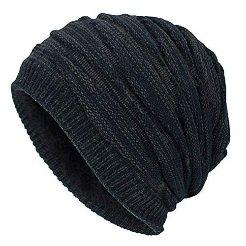 HaiDean Long Slouch Winter Beanie Modernas Ttert Warme Damen Lässig Herren Feinstrick Strick Beany In Flechtmuster Mit Weichem Innenfutter (Color : Navy, Size : One Size) -