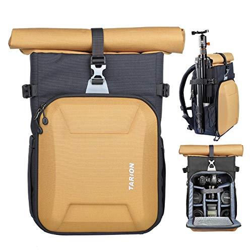 TARION XH Kamerarucksack Kameratasche DSLR Rucksack Fotoruckack Unisex für Sony Canon Nikon Kameras Stativ Objektiv usw. Zubehör mit 15,6 Zoll Laptopfach & Regenschutzhülle Gold