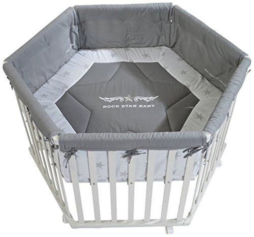 roba Laufgitter \'Rock Star Baby\', Laufstall 6-eckig, sicheres Spielgitter inkl. Schutzeinlage & Rollen, Baby Krabbelgitter, Holz weiß