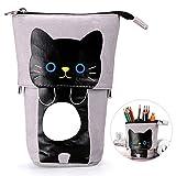 BTSKY - Trousse télescopique pour crayons ou pochette de rangement en toile avec motif de dessin-animé noir/gris
