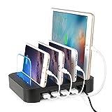 NEXGADGET Estación de Carga Organizador Cables USB Desmontable Universal 4 Puertos de Carga Soporte de Carga de Escritorio Se Adapta a la Mayoría de los Dispositivos de Carga USB