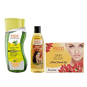 VLCC Ayurveda Dandruff Control Shampoo, Ayurveda Hair Oil and Facial Kit Combo
