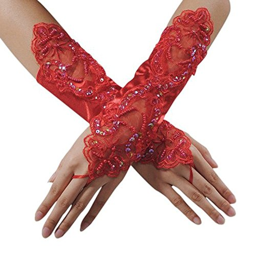 n Handschuhe Brauthandschuhe Abendhandschuhe lang fingerlos Hochzeit Party Sexy Abendkleid Hochzeit (Rot) ()