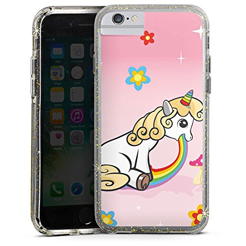 Apple iPhone X Bumper Hülle Bumper Case Glitzer Hülle Einhorn Unicorn Regenbogen Bumper Case Glitzer gold