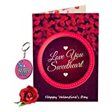 #1: Sky Trends Valentine Gift For Girl Lovely Greeting Card Keychain With Artificial Rose Best Gift For Girlfriend