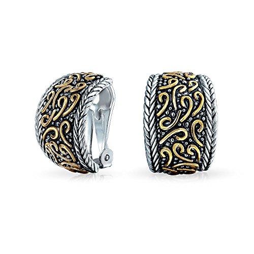 Bali Stil Swirl Zwei Ton Breite Hälfte Hoop Creolen Ohrclips Ohrringe Schwarz Sliver Vergoldet Messing