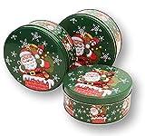 DKB Plätzchendosen Gebäckdose Blechdosen 3 Stück Weihnachten 14-17 - 20 cm (Weihnachtsmann)