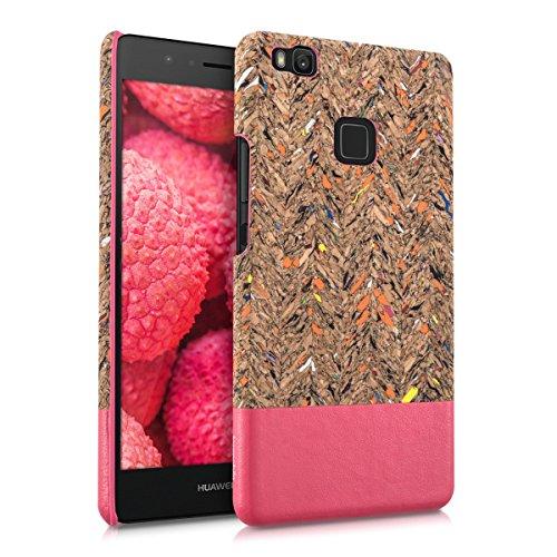kwmobile funda de corcho natural con aplicaciones de cuero sintético para Huawei P9 Lite con Diseño Reciclada olas superficie