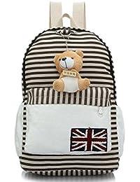 Windfeel Canvas Stripe Shoulder Bag Backpack Satchel School Laptop Travel Bag