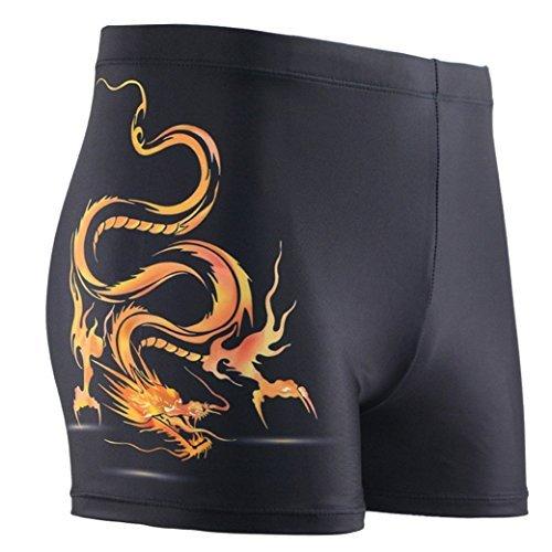 Panegy Herren Badehose Polyester Sommer Badeshorts Sexy Drachen Drucken Männer Schwimmhose Short Badehosen Boxer Brief asiatische Größe L - Schwarz