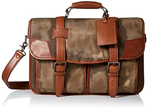 Allen Edmonds Men's Canvas Leather Double Flap Briefcase with Bottom,