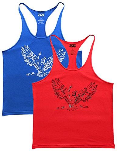 Alivebody Männer Ärmelloses Bodybuilding Weste Tank Top Undershirt Blau+Rot