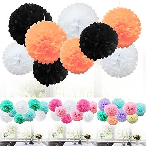 (TtS 9 MIX Seidenpapi PomPoms PomPons Blumen Hochzeit Party Dekoration (Halloween Shade))