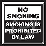 Home Decor Schild Rauchverbot Rauchen ist Gesetzlich verboten, schwarz und weiß Business Commercial Sicherheit Warnung quadratisch Metall Zeichen für Outdoor Nutzung im Innenbereich Einfache Montage