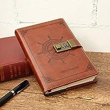 Diario/del cuaderno tema del pirata marrón PU forrado de piel código náutico de la