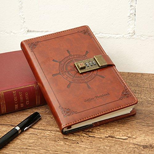 MOHOO Carnet secret Carnet de Notes avec Serrure à combinaison/ Cahier /Journal Bloc-notes/ Aidemémoire/ en PU Cuir style-rétro brun Boîte-cadeau Pour Bureau 112 pages 205 x 135mm (#1)
