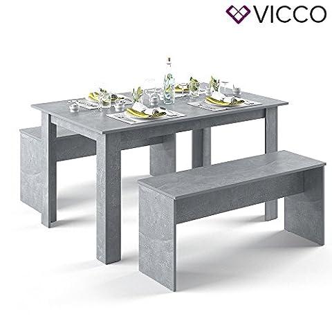 VICCO Tischgruppe Beton 140 x 90 cm - 4 bis