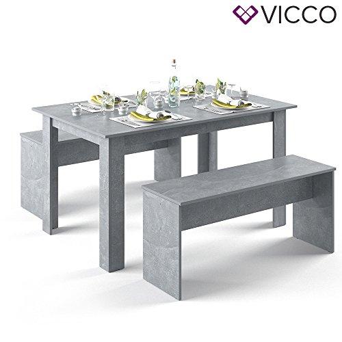 VICCO Tischgruppe 140 x 90 cm - 4 bis 6 Personen - Esszimmer Esstisch Küche Sitzgruppe Tisch Bank - Bänke flexibel verstaubar (Beton)