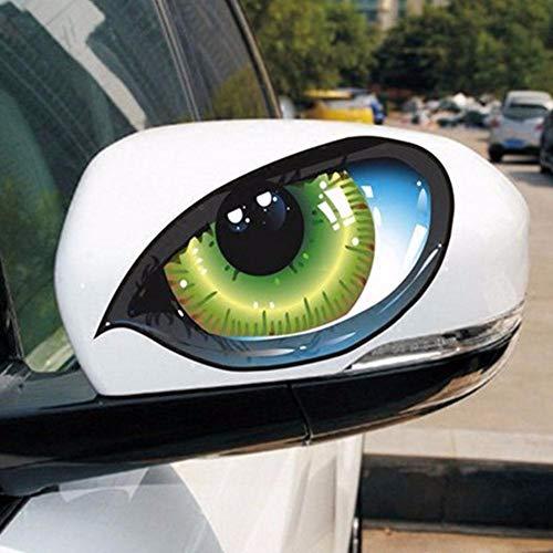 Luxury-uk 3D Katzenaugen Aufkleber 1 para Autofenster Rückspiegel Reflektierende Dekor Katzenaugen Fensterspiegel Aufkleber Katzenaugen Lustige Auto Aufkleber