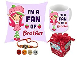 Aart Im a fan of brother | rakshabandhan gift for brother | rakhi gift for sister | gift for rakshabandhan | gift for rakhi Superior quality Cushion (16 X 16) with Filler and Ceramic Mug Capacity: (350 ML) for Raksha Bandhan Gifts.