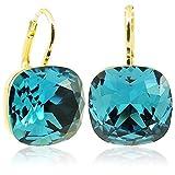 Ohrringe mit Kristallen von Swarovski® Gold Petrol Blau Türkis NOBEL SCHMUCK