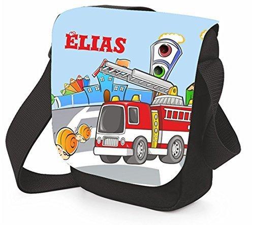 Schultertasche mit Feuerwehrauto Brotdose Umhängetasche Schultertasche (Tasche mit Brotdose) Tasche einzeln