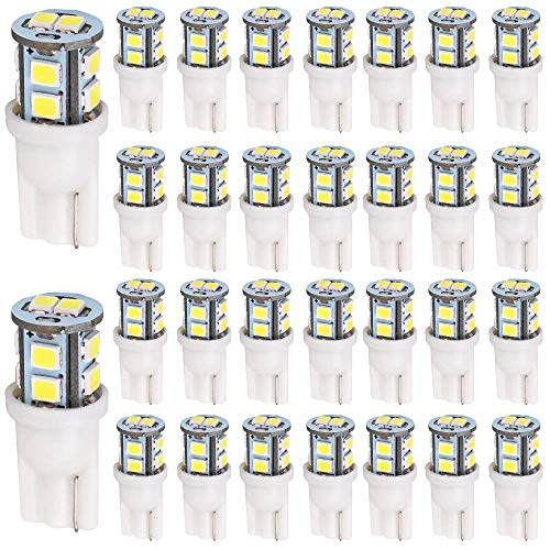 AMAZENAR 30-Pack T10 194 168 2825 175 W5W Blanc 10-SMD 2835 LED Lumière 12V Ampoule de Remplacement De Voiture pour Carte Dôme Courtoisie Marqueur de Plaque D'immatriculation Latérale Lumière