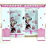 GMM-1 DISNEY Kindergardine für Mädchen / Kinder mit Motiv MINNIE MOUSE für Kinderzimmer / Mädchenzimmer / Vorhänge pink