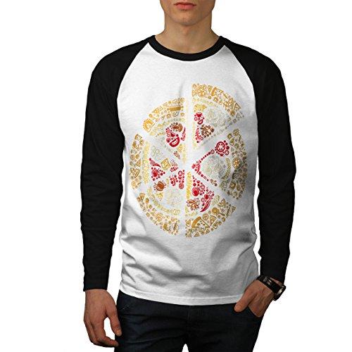 Pizza Scheibe Schnell Mischen Essen Herren S Baseball lange Ärmel T-Shirt | Wellcoda (Bekam Baseball)