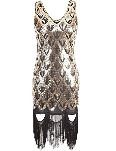 PrettyGuide Damen 20s Gatsby Sequin versch?nerte Fishscale Fringe Flapper-Kleid Gold M (Fringe 1920er Jahren Kleid)