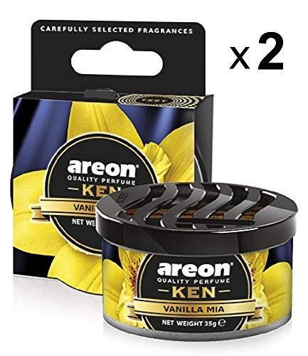 Areon Ken Deodorante Auto Vaniglia Mia Dolce Ambiente Profumatore Contenitore Scatola Originale Profumo Interni Casa 3D ( Vanilla Mia Set x 2 )