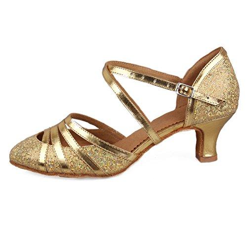 HROYL Damen Tanzschuhe/Latin Dance Schuhe Glattleder Ballsaal Modell-D5-512 Gold 39 EU