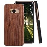 ZXK CO Galaxy S8 Hülle Holz, Galaxy S8 Handyhülle Holz und PC Innerer Schutzhülle Case Hardcase für Samsung Galaxy S8-Walnussholz Braun