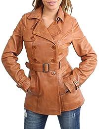 House Of Leather Mujer Pecho Doble Mediados de Longitud Trench Cuero Chaquetón Abrigo Sienna Marrón Claro
