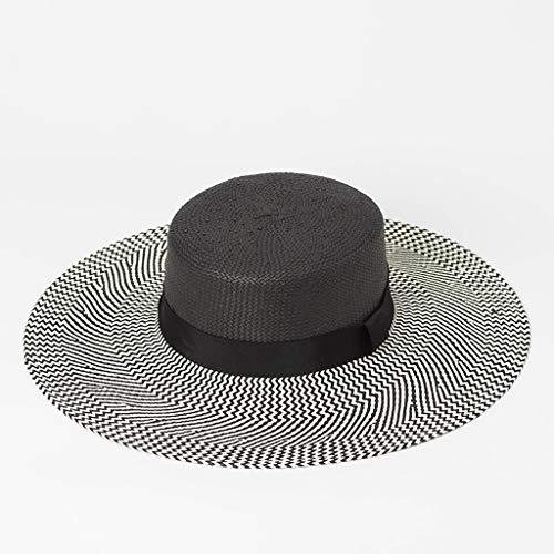 Cxmm Colorblock Stripe Bow Hat Sonnenhut Sommer Visor Beach Large Edge Flat Cap (Farbe: Schwarz) - Visor Stripe Cap