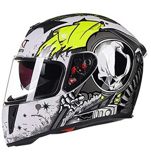 Henpooseng Modularer Helm mit Innensonnenblende Sicherheits-Doppelscheibe Racing Vollgesichtshelme White Green XL