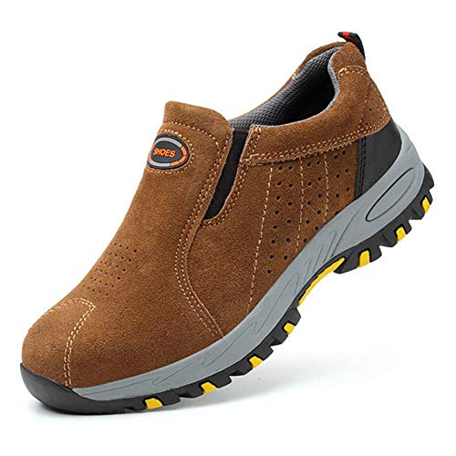 Qianliuk Männer Sicherheitsstiefel Atmungsaktive Outdoor-Stiefel Kuh Wildleder Stahlkappe Arbeitsstiefel Schuhe Männer Anti-Slip Proof Schuhe -