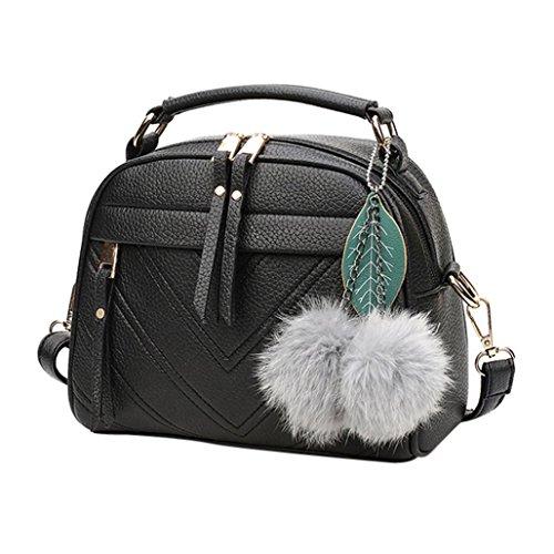LHWY Frauen Schulter Handtaschen Tote Hobo Reißverschluss Taschen Niedlichen Pelz Haarballen Schmuck für Schule Teen Mädchen (22cm(L)*18(H)*11cm(W), Schwarz) (Teens Schmuck)