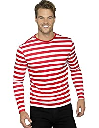 NET TOYS Ringelshirt rot-weiß Gestreiftes Shirt für Männer Piratenshirt  Geringelt Clownshirt Herren d870c45715