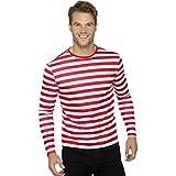 NET TOYS Ringelshirt rot-weiß gestreiftes Shirt für Männer L (52/54) Piratenshirt Geringelt Clownshirt Herren