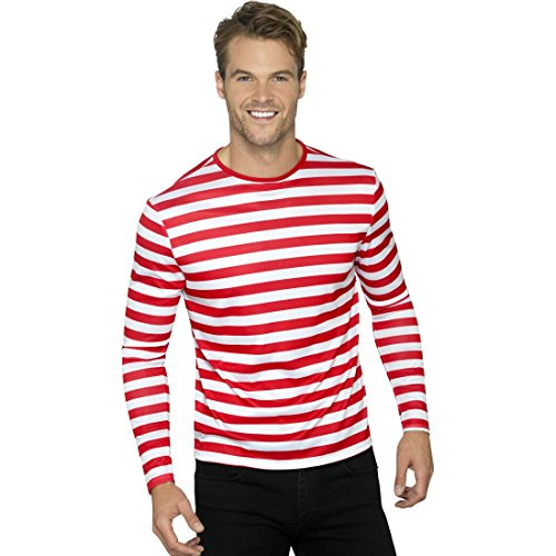 Amakando Gestreiftes Shirt für Männer - L (52/54) - Piratenshirt Geringelt Streifenshirt Clown Clownshirt Herren T-Shirt Zirkus Pirat Ringelshirt rot-weiß