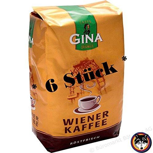 6 Stück Gina Wiener Kaffee 1000g Bohnen = 6 kg