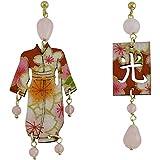 Huiymfm Lebole Kimono Boucles d'oreilles en bois et pierres Rose