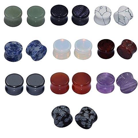 D&Min Jewelry Set 10 Paare/20 Stk Mix Farben Tunnel Plugs 6mm - 16mm zur Auswahl 5/8