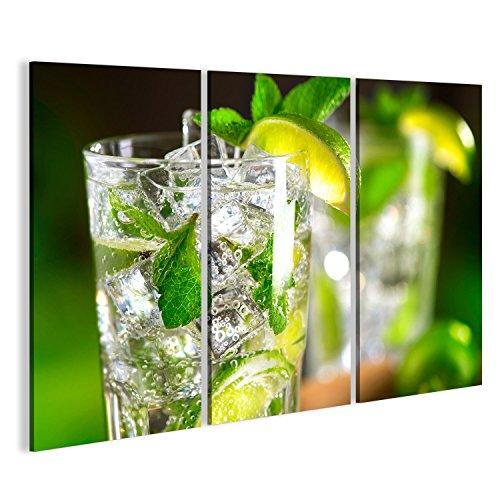 bilderfelix® Bild auf Leinwand Mojito-Cocktail auf einem Tisch. Sommercocktail mit Rum, Kalk, Minze, Eiswürfeln und braunem Zucker Wandbild, Poster, Leinwandbild KVS -