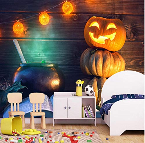 SKTYEE Custom 3D Photo Wallpaper Pumpkin Lantern KTV Bar Restaurant Halloween Wall Decoration Mural Wall Painting Living Room Bedroom, 430x300 cm (169.3 by 118.1 in) Halloween Green Lantern