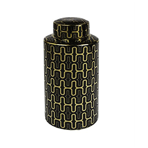 Benzara Ceramic Covered Jar, Black/Gold Covered Jar