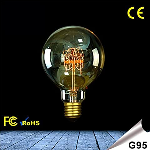 OOFAY LIGHT® Vintage Edison Filament de tungstène Ampoule Dimmable E27 2300K G95 Ampoules décoratives Classe énergétique A ++