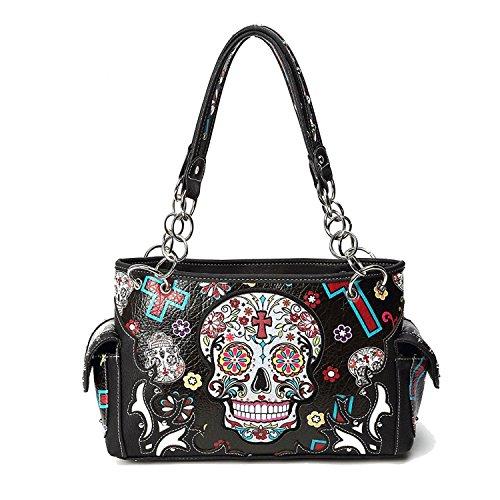 Cowgirl Trendy Sugar Skull Geldbörse mit versteckter Tragetasche Day of the Dead Handtasche, Schwarz (schwarz), Medium